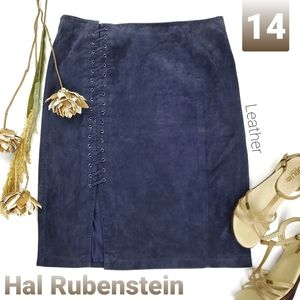 Hal Rubenstein Blue Suede Leather Lace Up Skirt 14